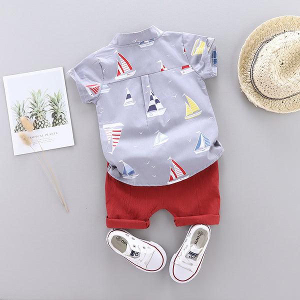 Boy's new summer stand collar sailboat short sleeve shirt solid color shorts two piece set