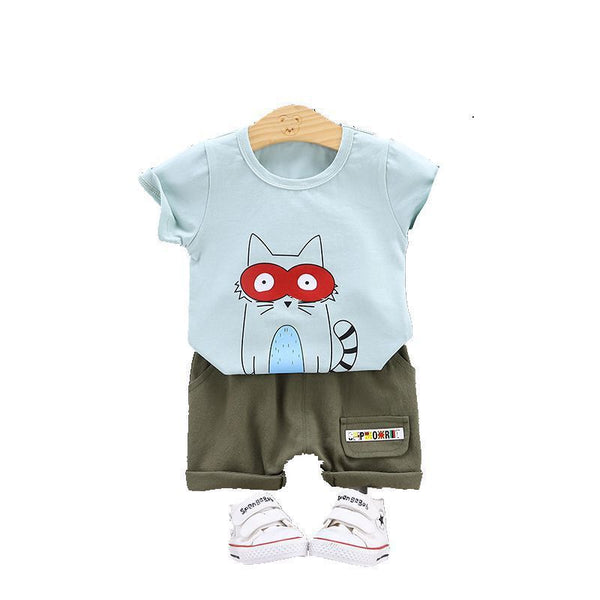 2020 Summer Dress New Baby Cartoon Casual Collar Short-sleeved Shorts Two Sets