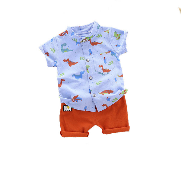 2020 summer boys new dinosaur short-sleeved shorts suit