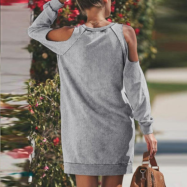 Maternity Daily Pure Color Off Shoulder Long Sleeve Dress