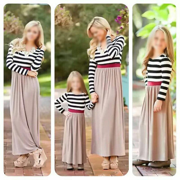 Mom Girl Round Neck Striped Splicing Matching Dress