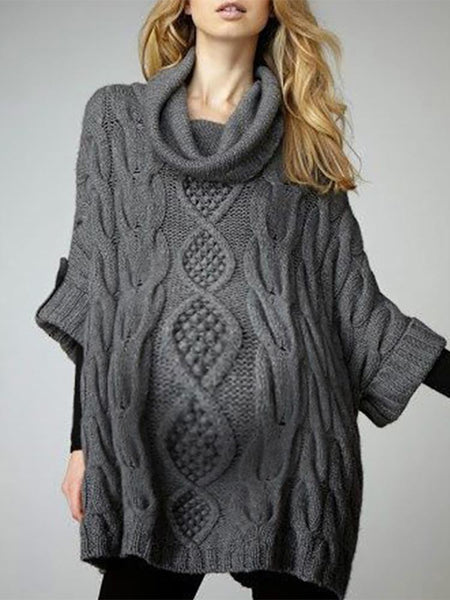 Maternity Casual Pure Color Loose Sweater