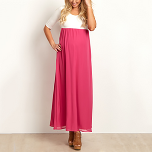 Maternity Casual Round Neck Sleeves Long Chiffon Dress