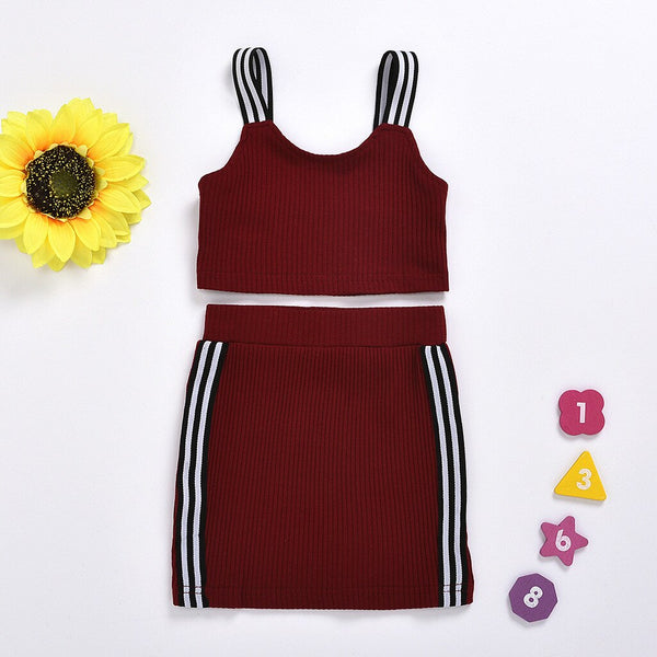 2020 Fashion baby girl clothes summer Sleeveless Set Sling Off Shoulder Tops+skirts Casual Outfits Sets