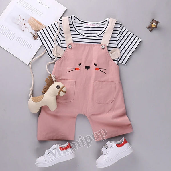 2020 boys' summer new baby clothes stripe short sleeve two piece girls' back belt Pants Set
