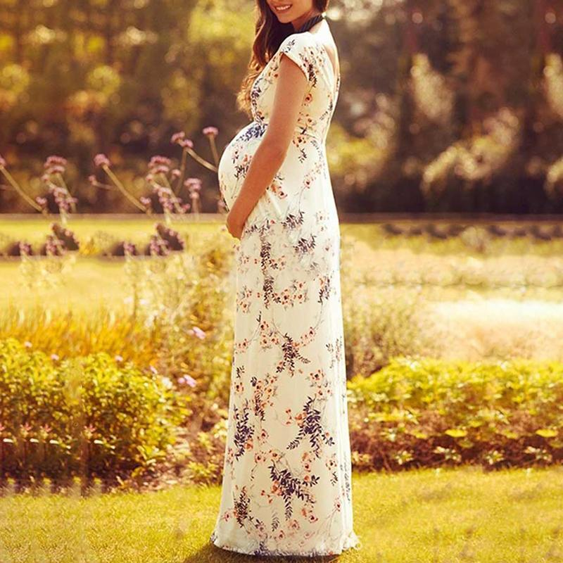 Maternity Plant Short Sleeve Maxi Dress