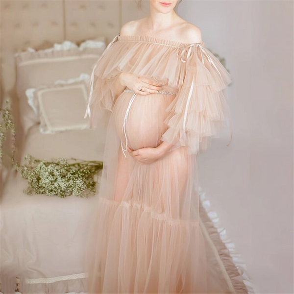 Maternity Pregnant Women Mesh Pure Color Dress Long Skirt