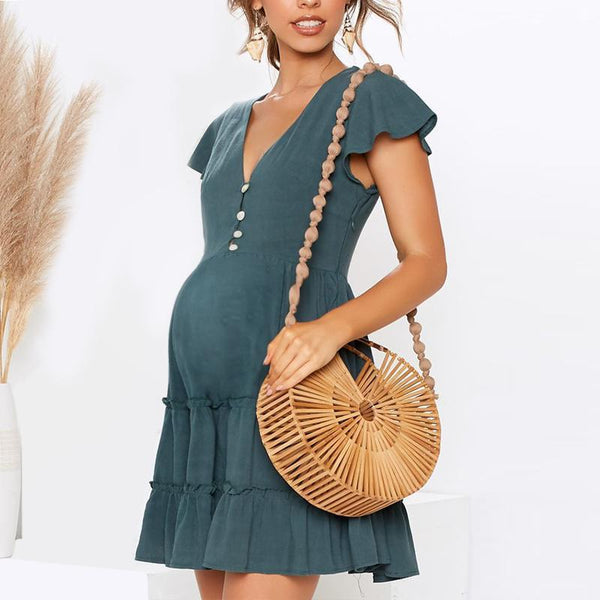 Maternity Plain V-Neck Pleated Skirt