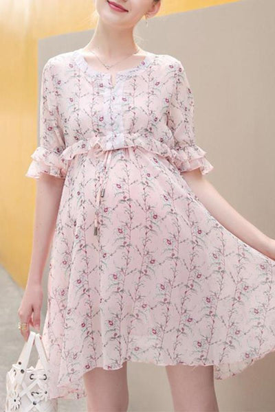 Maternity Floral Print Sleeve Dress