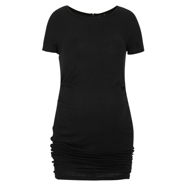 Round Collar Fitted Maternity Short Dress