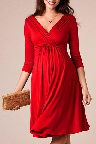 Maternity Solid Red V-Neck Midi Dress