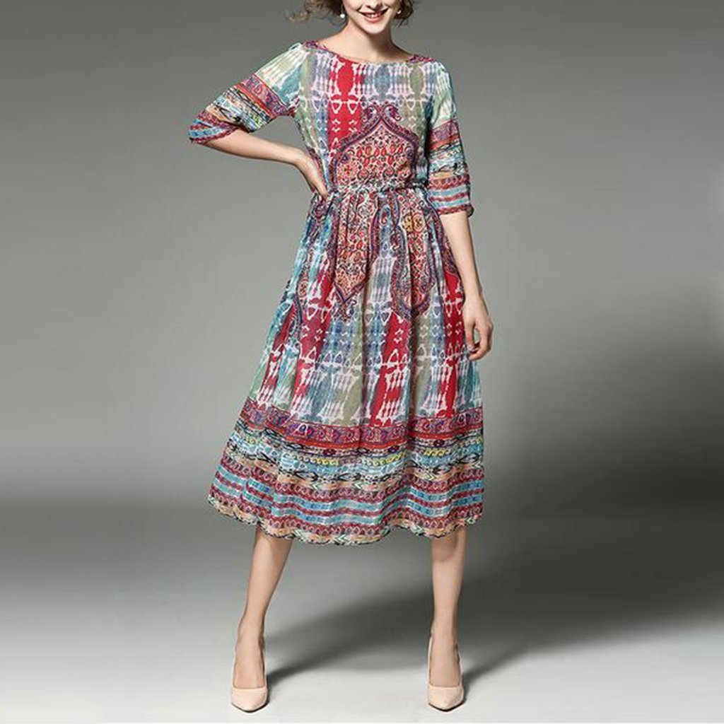 Maternity Spring And Summer Printed Chiffon Dress