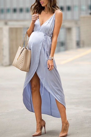 Maternity Slit Front Self Tie Cami Dress