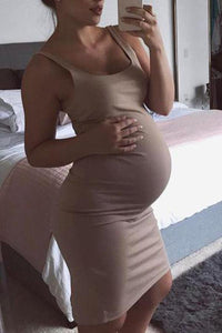 Maternity Solid Color Casual Sundress