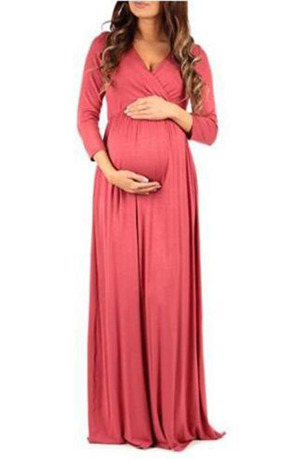 Maternity Solid Color Long Sleeve Full Length Dress