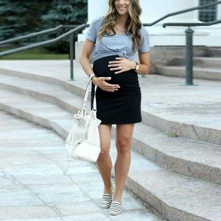 Maternity Fake Two Pieces Dress With Mini Sleeves