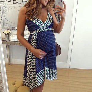 Maternity V-Neck Cami Dress With Belt
