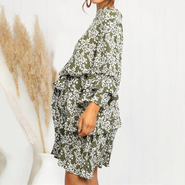 Maternity Printed Color Patchwork Round Neck  Dress