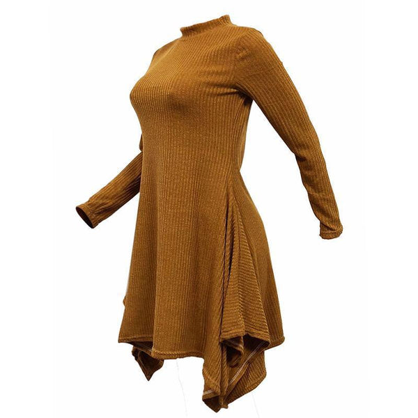 Asymmetrical Stand Collar Long Sleeve Slim Warm Sweater Dress
