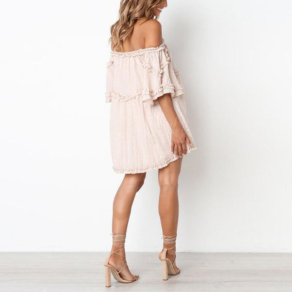 Off Shoulder Flare Sleeve Maternity Dress