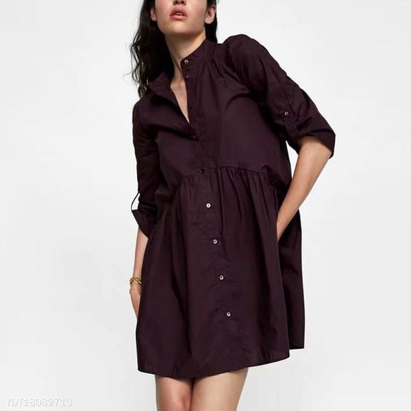 Stand Collar Long Sleeves Maternity Dress