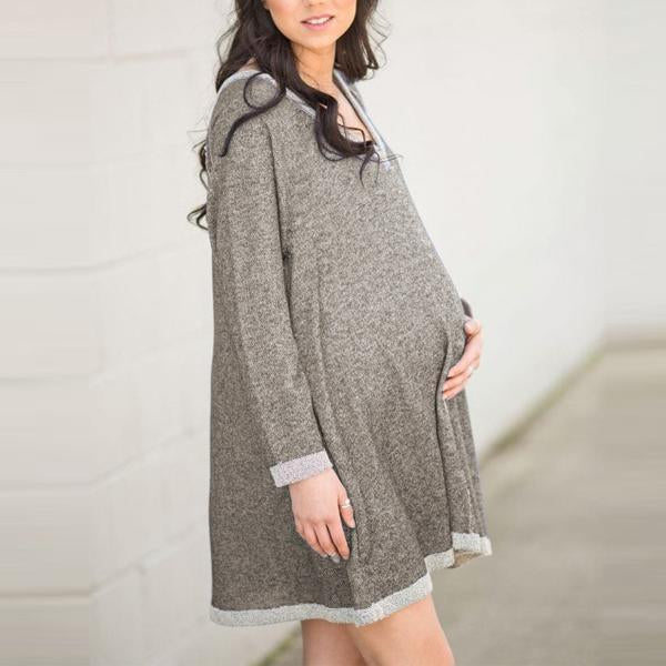 Maternity V-Neck Long-Sleeved Casual Dress
