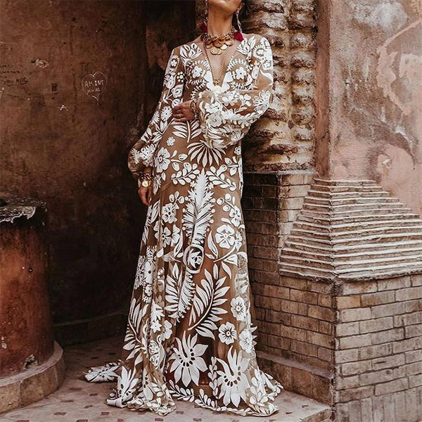 Maternity Bohemian V Neck Long Sleeve See-Through Printed Colour Dress