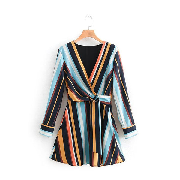 Maternity Striped V Neck Long Sleeve Maxi Dress