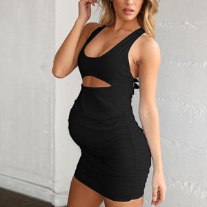 Maternity Plain Scoop Backless Bodycon Dress