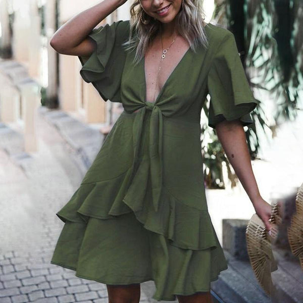 Maternity V-Neck Flare Sleeve Mini Dress