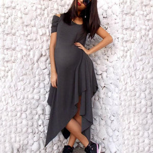 Maternity Plain Asymmetric Casual Dress