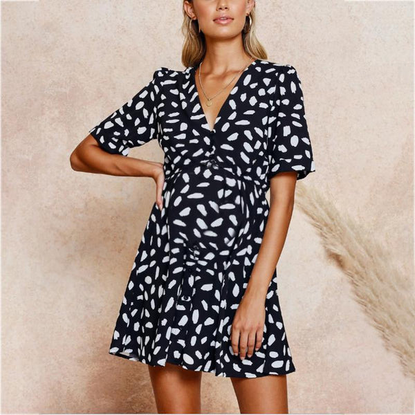 Maternity Deep V Neck Shell Printing Casual Dress