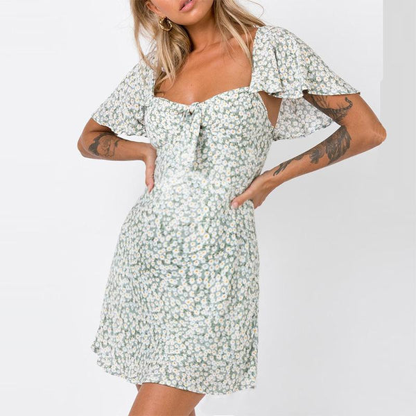 Maternity Floral Falbala Short Sleeve Dress