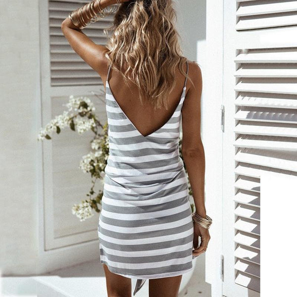 Maternity V-Neck Spaghetti Strap Stripe Tie Casual Dress