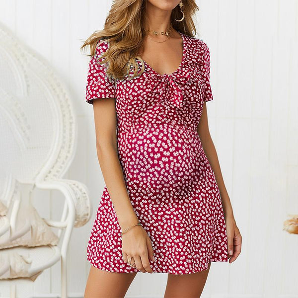 Maternity V-Neck Floral Casual Above Dress