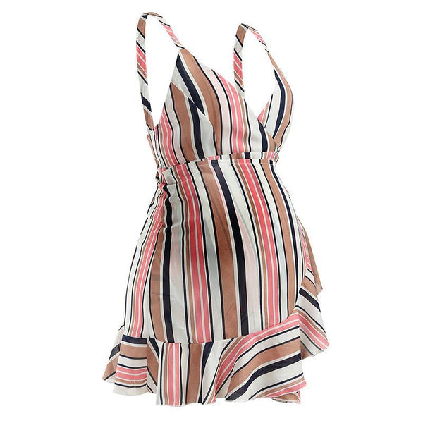 Maternity V-Neck Strappy Striped Dress