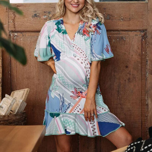 Maternity V-Neck Printing Short Sleeve Casual Above Dress