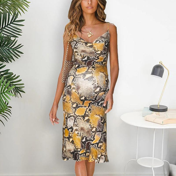 Maternity V-Neck Spaghetti Strap Printing Formal Dress