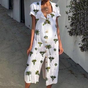 Casual Maternity Beach Floral Print Long Dress