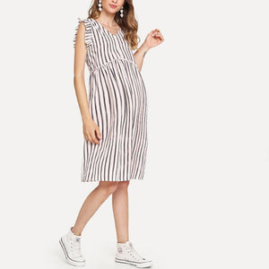 Maternity V-Neck Striped Short-Sleeved Dress