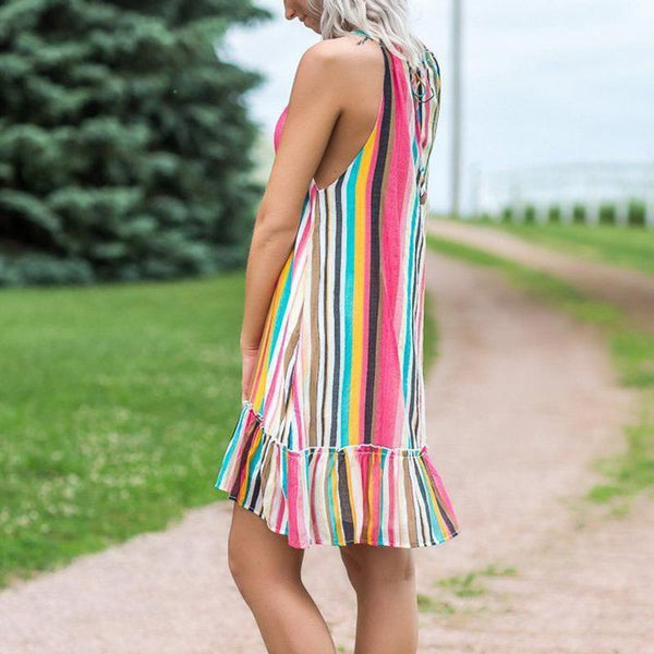 Maternity Colorful Striped Print Suspender Dress