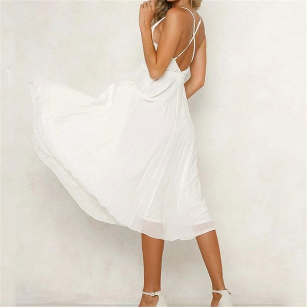 Maternity Plain Surplice Backless Cross Strap Skater Dress