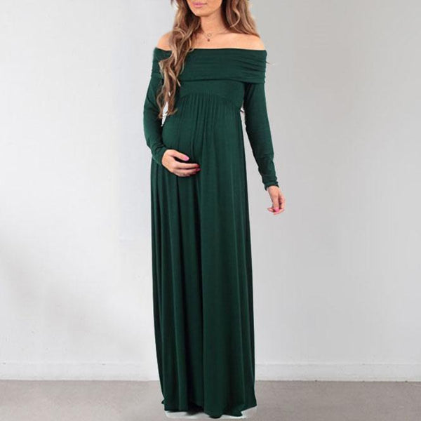 Solid Color Sexy Shoulder Long Sleeve Dress