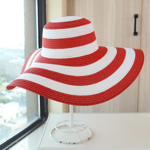Striped Beach Hat Shade Big Straw Hat
