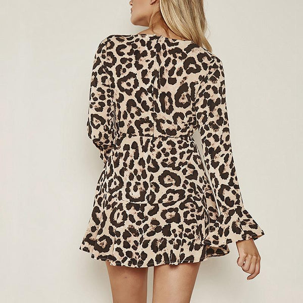 Maternity Sexy V-Neck Leopard Flared Sleeve Dress