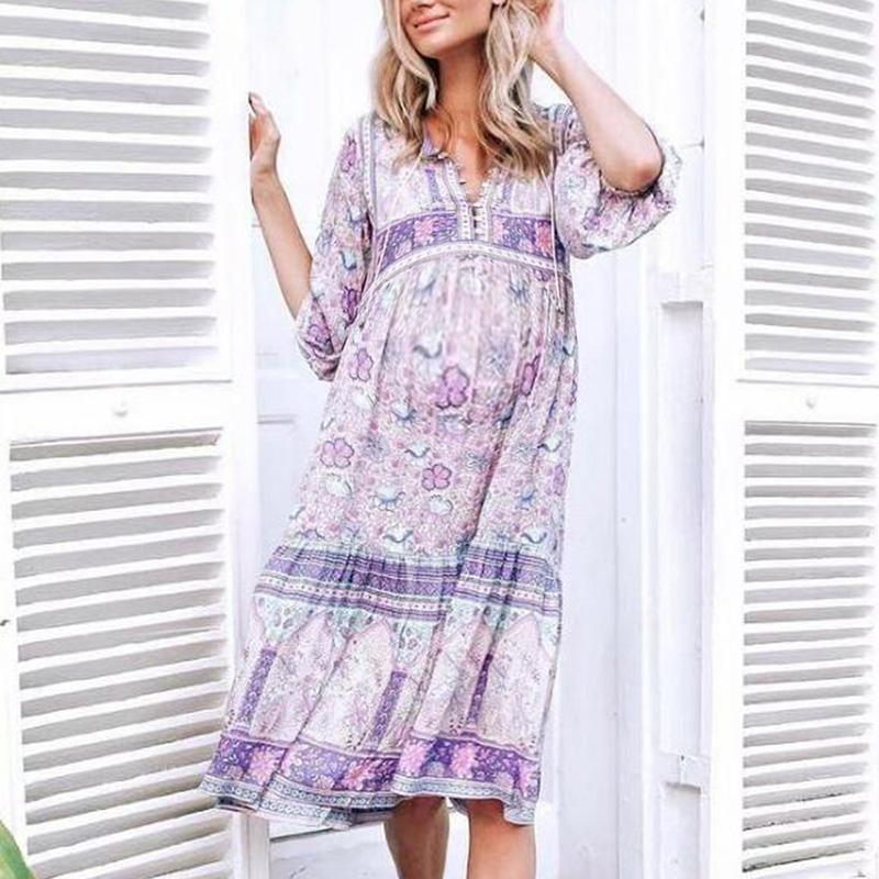 Maternity Casual V Neck Long Sleeve Printed Colour Loose Dress