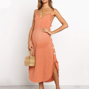 Maternity Sexy V-Neck Side Buckled Edging Dress