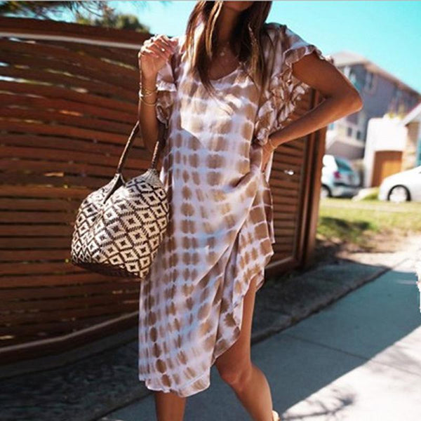 Maternity Casual Round Neck Short Sleeve Contrast Color Dress
