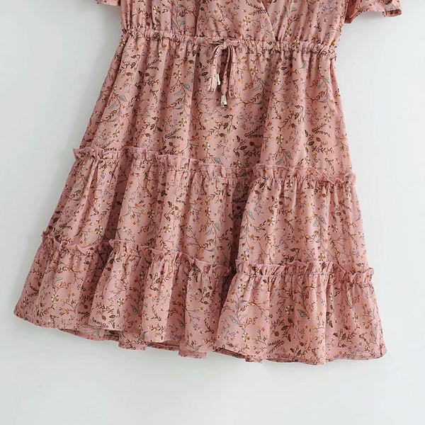 Maternity Pink Leaf Print Dress