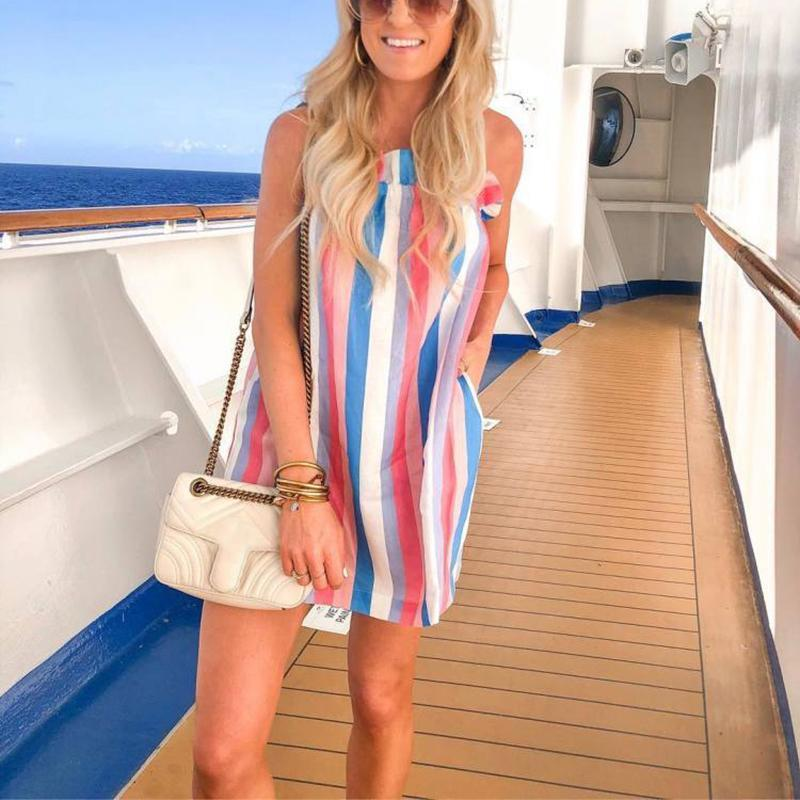 Maternity Casual Rainbow Striped Sling Dress